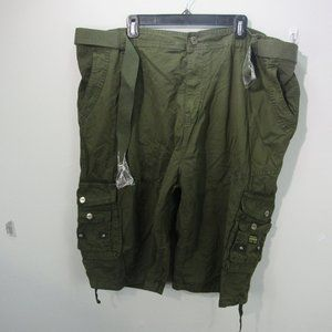 Galaxy Men's belted cargo shorts olive green W46